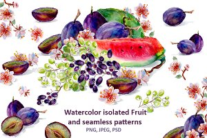 Set of watercolor fruits and flowers