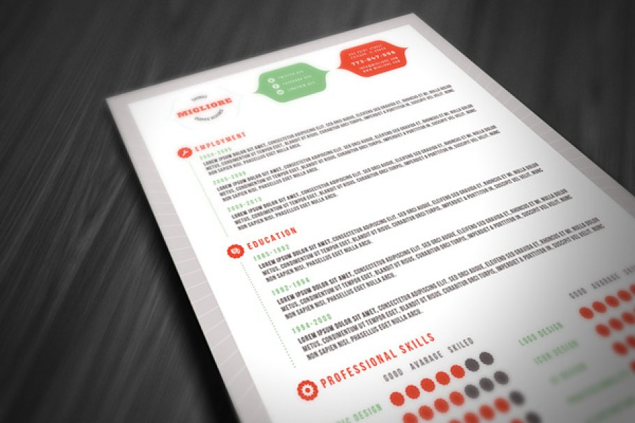 Colorful Resume Template Templates Creative Market