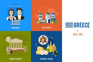 Greek culture and travel banners set