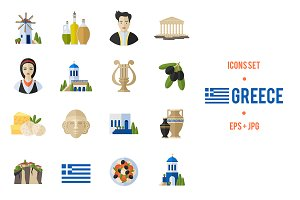 Greek culture and travel icons set