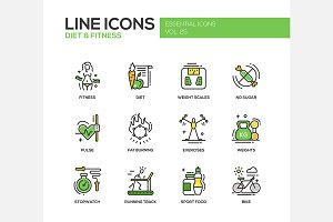Diet & Fitness - Line Icons Set
