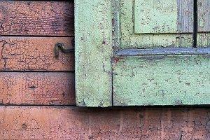 Detail of green wooden shutters