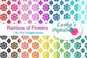 Rainbow Floral Digital Paper