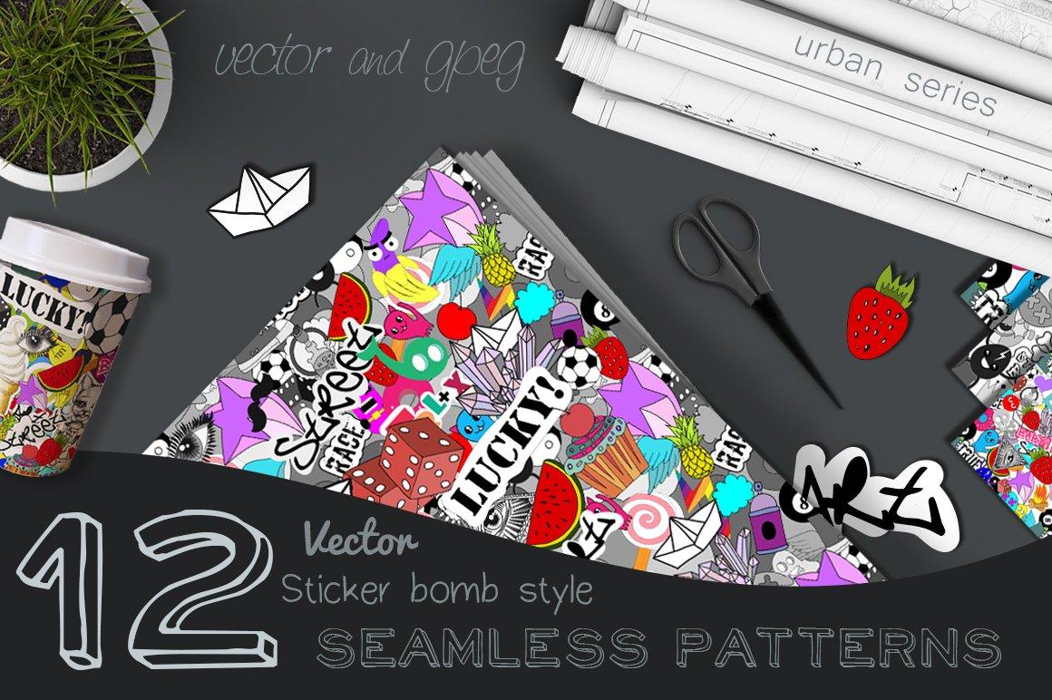 sticker bomb set graphic patterns creative market. Black Bedroom Furniture Sets. Home Design Ideas