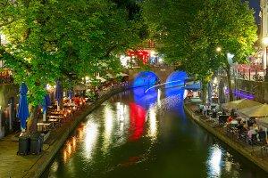Night Oudegracht and bridge, Utrecht, Netherlands