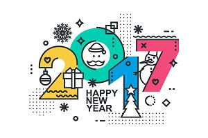 2017 Happy New Year trendy card