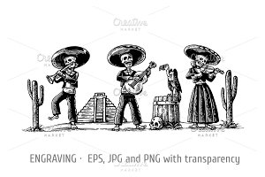 skeleton dance play trumpet guitar