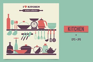 Kitchen dishes icon in vintage style