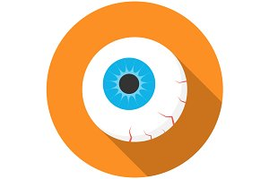 Halloween eyeball icon flat