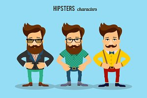 Casual male hipster characters