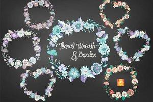 Floral Wreath & Border Clip Arts