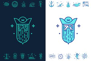 Set of cute nautical icons