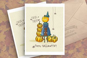 Halloween vector greeting card