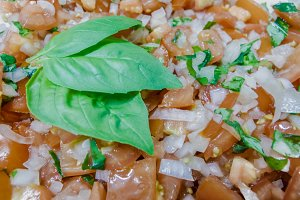 Italian Bruschetta with Basil Leaves