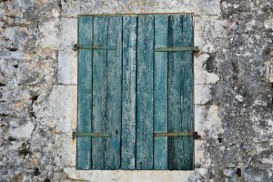 Blue Window Shutter