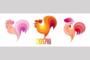 New Year roosters set.