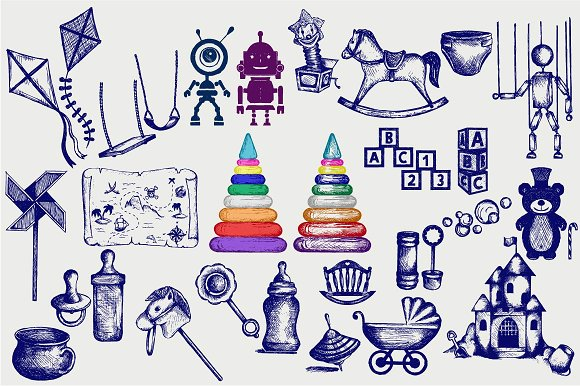 Set of children's objects