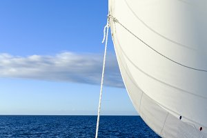 Billowing Sail on a Yacht