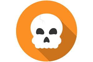 Halloween skull icon flat