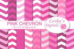 Pink Chevron Digital Paper Pack
