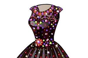 Princess dress with precious stones