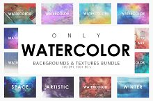 Only Watercolor Backgrounds Bundle