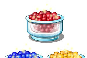 Red, blue and yellow balls