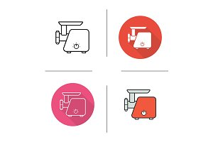 Meat grinder. 4 icons. Vector