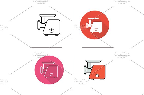 Meat grinder. 4 icons. Vector - Graphics