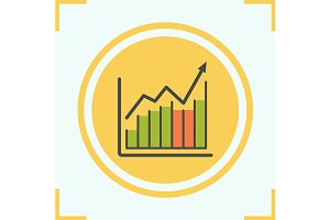 Income growth chart icon. Vector