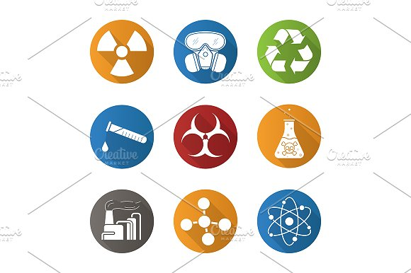 Chemical industry. 9 icons. Vector - Icons