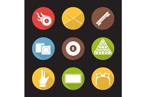 Billiard. 5 icons. Vector