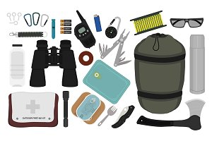 Camping survival set. Vector