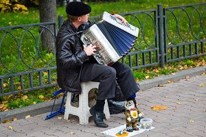 Street musician with accordion