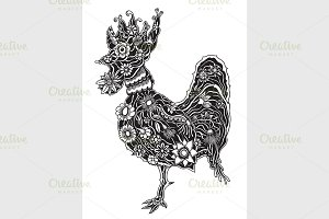 floral ornate rooster