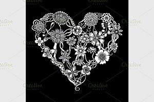 Floral heart Doodle