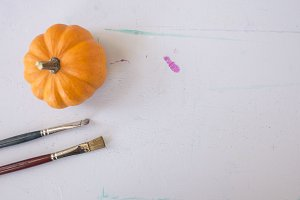 Pumpkin and Paint Brushes