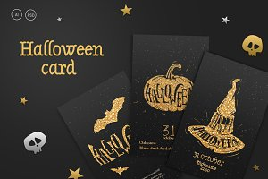 Templates flyers Halloween in gold