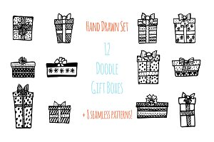 Doodle gift boxes set + 8 patterns