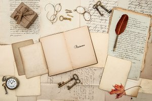 Antique accessories, old letters