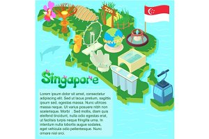 Singapore map, cartoon style