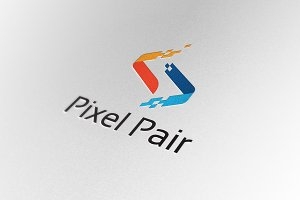 Abstract Digital Pixel Pair Logo