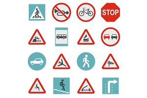 Road Sign Set icons, flat style