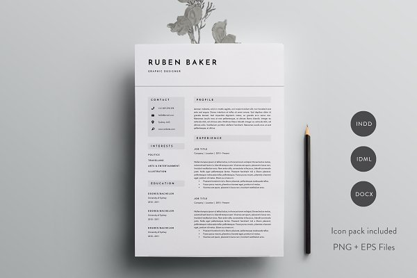 3 Page Resume Template   INDD + DOC…