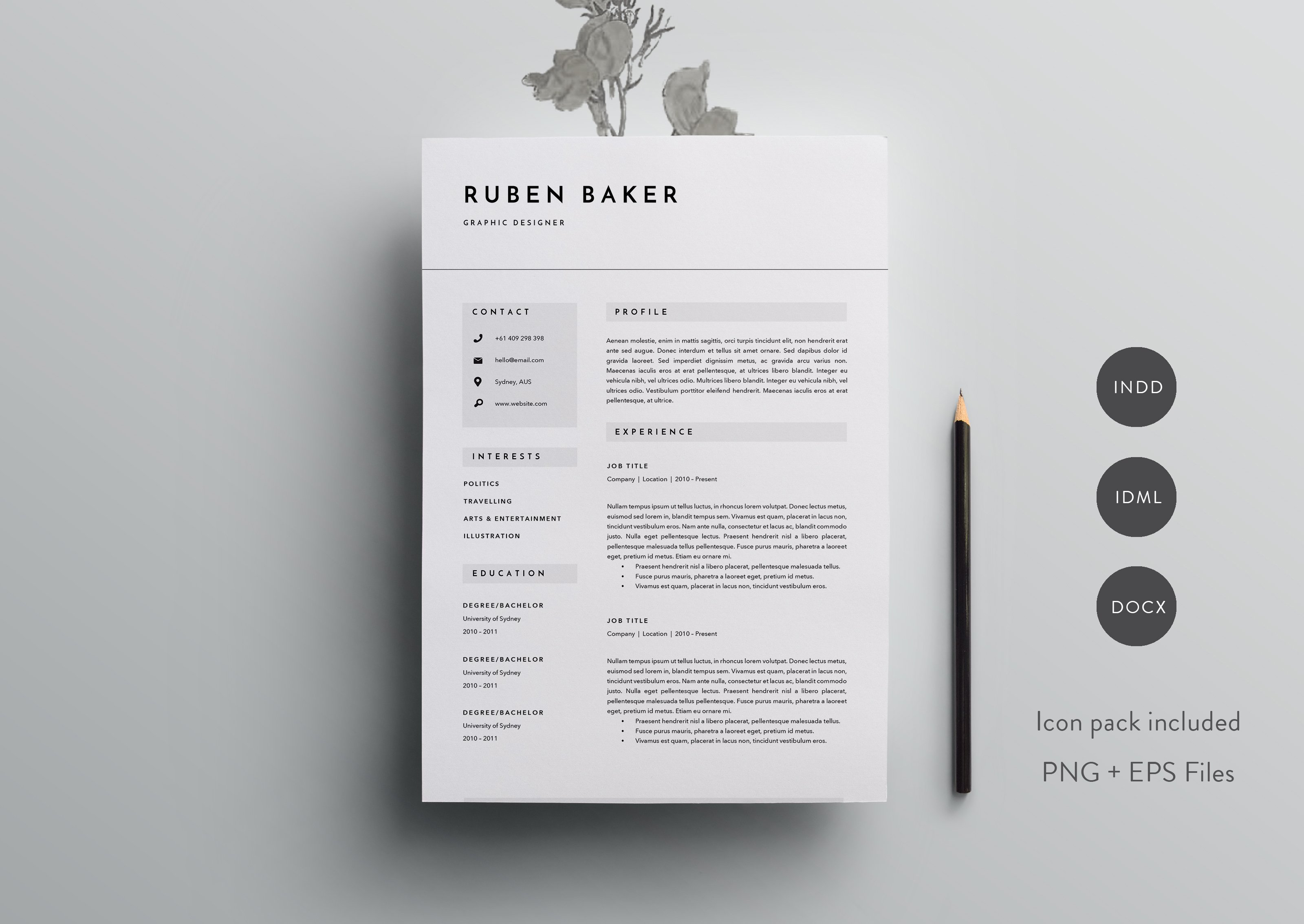 3 page resume template indd docx resume templates creative market - Business Resume Template