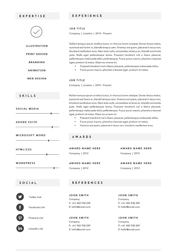 3 page resume template indd docx resume templates creative market