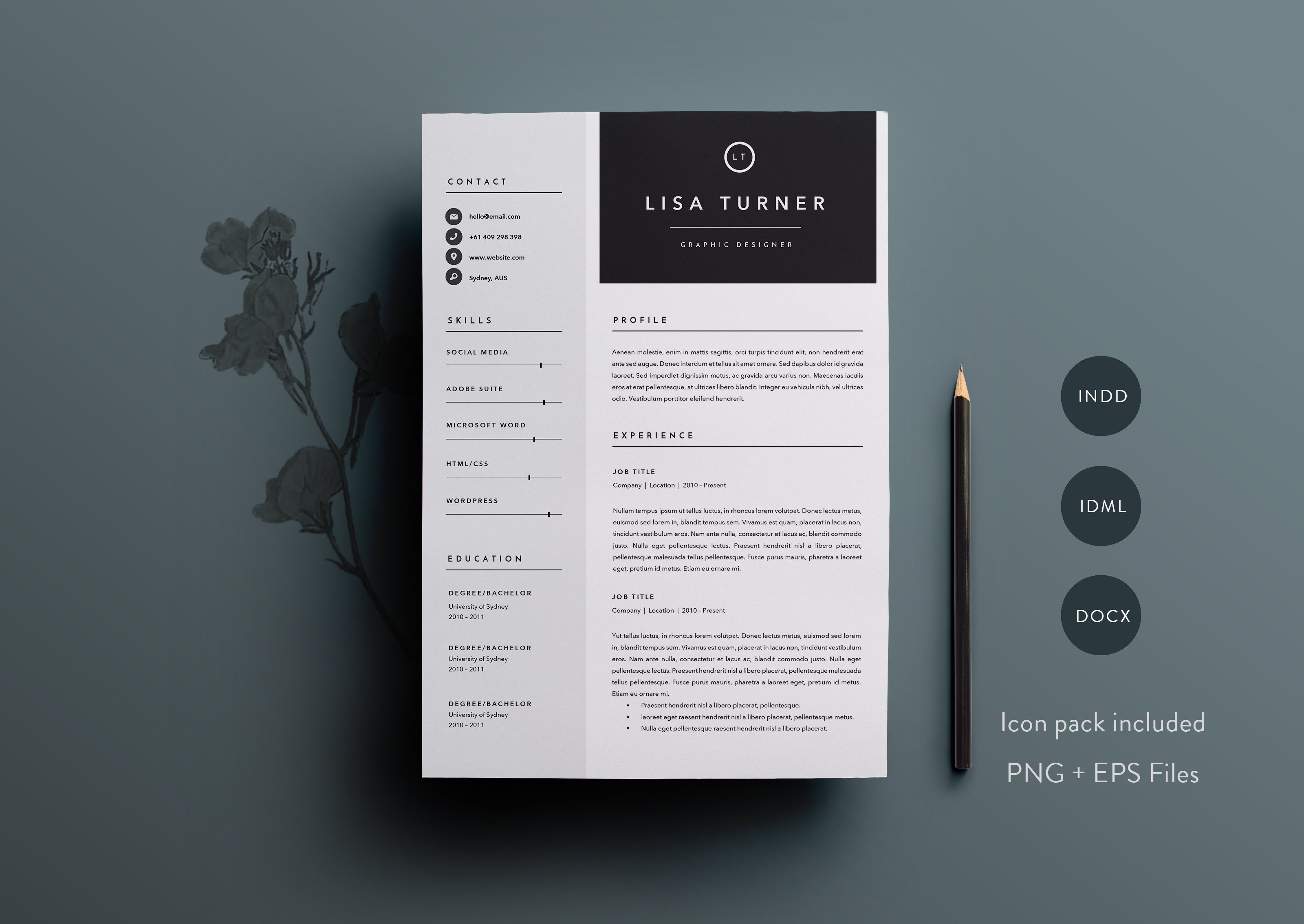 3 Page Resume Template Indd Docx Resume Templates Creative - Resume-template-indesign