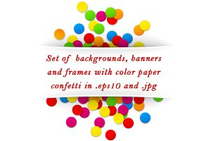 Cards set with color paper confetti