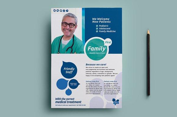 healthcare clinic flyer template 2 flyer templates creative market - Clinic Brochure Template