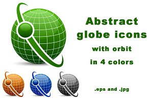 Abstract globe with orbit icons set